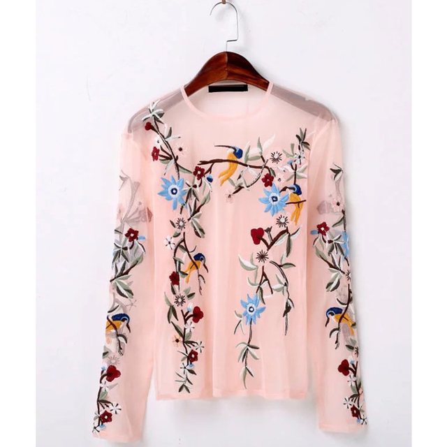 2017 Fashion Vintage Mesh Perspective Sexy Women Blouses Shirts O Neck Long Sleeve Floral Embroidery Blouse Brand Tops BBWM7111