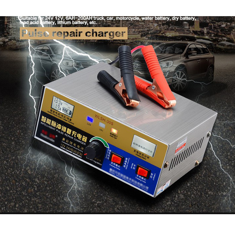 Hot Sale110V/220V Full Automatic Electric Car Battery Charger Intelligent Pulse Repair Type Battery Charger LCD Display EU Plug  цены