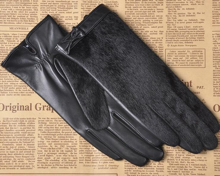 Mens Nappa Leather Winter Warm Lined Gloves with Faux Horsehair Hand Back