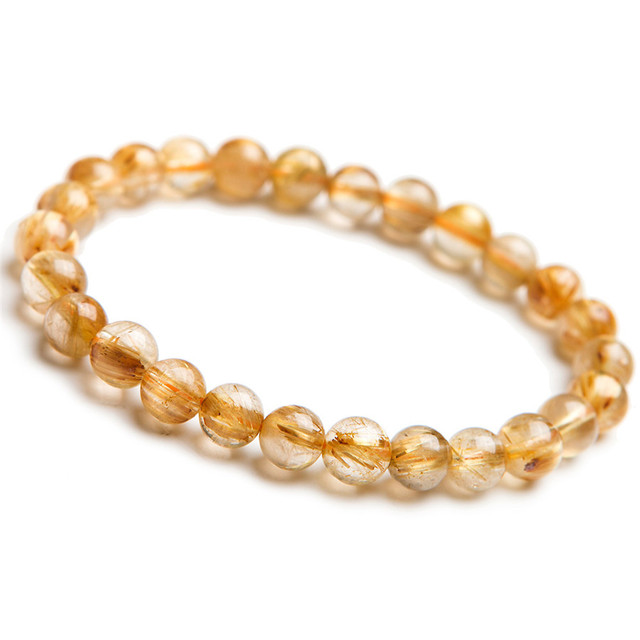7mm Genuine Brazil Natural Titanium Gold Rutilated Quartz Crystal Transparent Round Beads Stretch Charm Bracelet