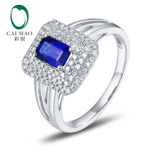 Free shipping 18KT/750 White Gold 0.75ct Sapphire 0.35 ct Round Cut Diamond Engagement Gemstone Ring Jewelry