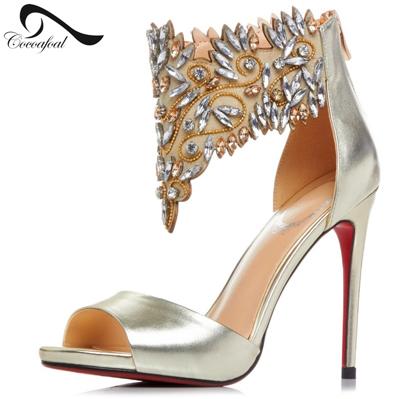 ФОТО Fashion Shoes Genuine Leather 2017 New Sandals Black High With Nightclubs Sexy Sandals High Heels Gold Fashion Sandals silver