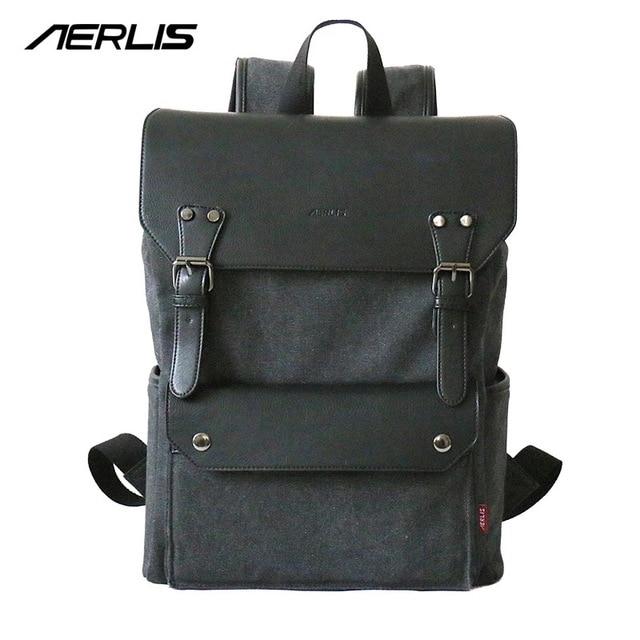 302ca6995 Sacos para mulheres dos homens da lona aerlis mochila design exclusivo pu  de retalhos de couro