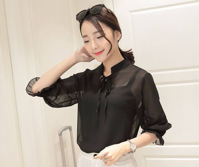 758330da5d3a camisa social feminina Batas e Blusas Summer female Chiffon shirt Plus size  Tops Women blouse Formal Clothing ropa mujer CJ583-in Blouses & Shirts from  ...