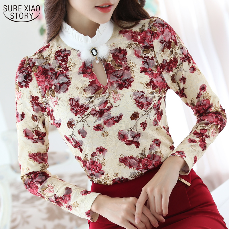 Lace Blouses Shirt Crochet Ladies Tops Long-Sleeve High-Collar Autumn Winter Casual Women