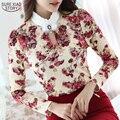 2016 Ocasional Otoño Primavera Cuello Alto Crochet Encaje Floral Blusas de Las Señoras Tops de Encaje Blusas de Las Mujeres Camisa de Manga Larga S-3XL