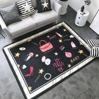 Нордический креативный ins коврик с цифровой печатью, флисовый нескользящий коврик для ползания, коврик для гостиной, коврик для спальни, ков