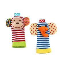 2pcs Baby Wrist Bell Foot Socks Stuffed Appease Rattle Toy Cute Plush Animal Handbell Soft Toy Developmental Kid Infant Boy Gift(China)