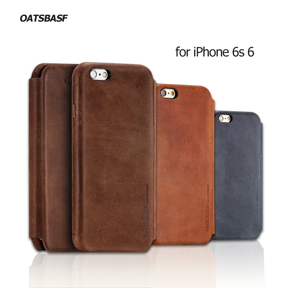 For iPhone 6s 6 OATSBASF Genuine Cowhide Leather Flip Shell Cover for iPhone 6 s 4