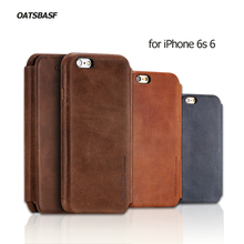 For iPhone 6s 6 OATSBASF Genuine Cowhide Leather Flip Shell Cover for iPhone 6 s 4.7-inch Leather Bag Cover
