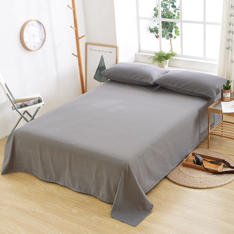 Home Textile Solid Color King Bed Sheet Soft Cotton Bedding Sheet Bed Flat Sheet Pillowcase Gray Sleeping Bed Covers