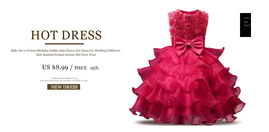 √New Baby Girl Birthday Party Dresses Baptism Ball Gown For Girls ...