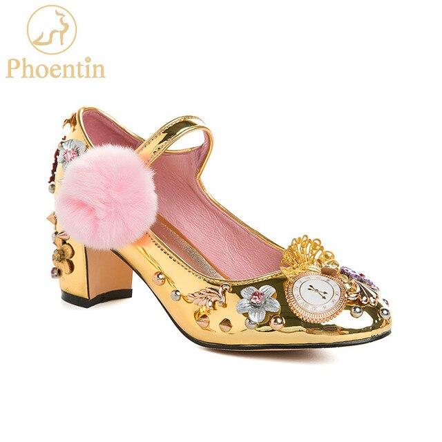 Phoentin tribunal estilo mary jane sapatos rebite bombas de cristal com pele relógio decoração 2020 ouro salto alto botão fechamento FT333 1