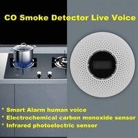 CO Smoke Detector Live Voice LED Display Alarm Carbon Monoxide Leakage Sensor Smart Human Voice LCD