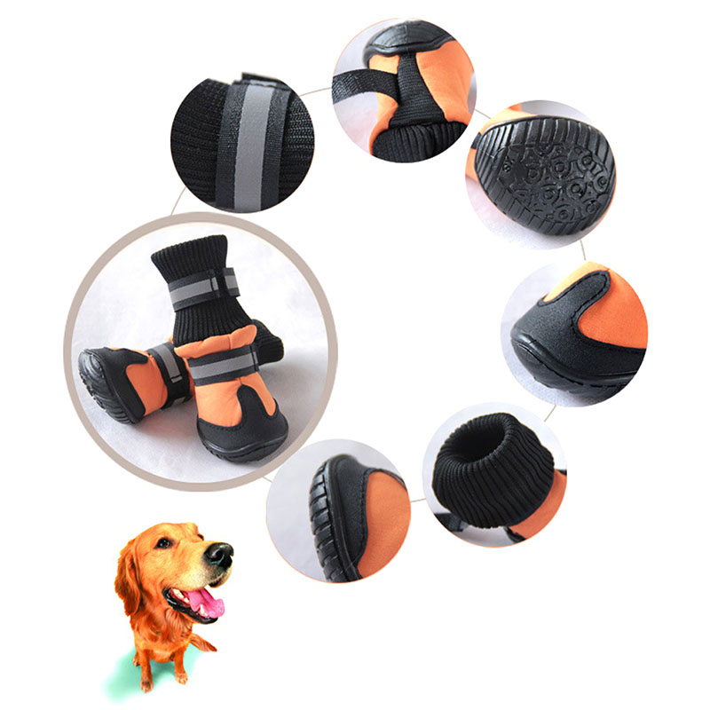 Warm Large Big Dog PU leather Sport Shoes Winter Waterproof Pet dog Puppy Martin boots non-slip golden retriever rain shoes