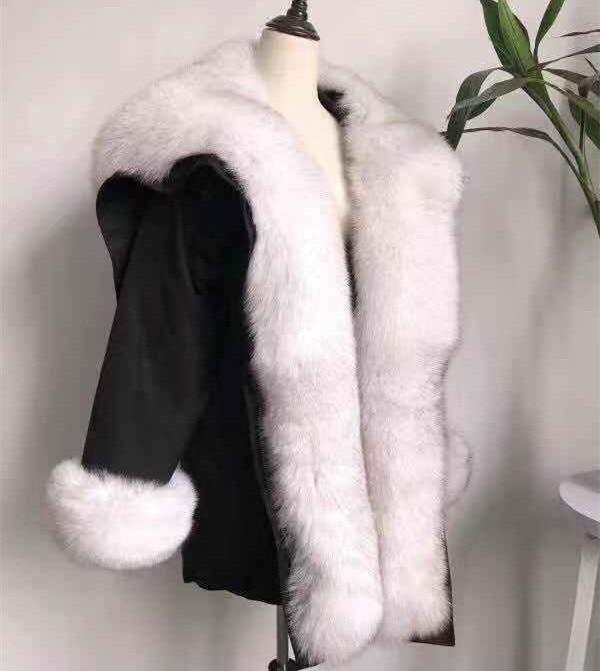 Fourrure Capuchon De Fox Bas Raccoon Raton Col Parka Survêtement Laveur Manteau Veste Vers À Collar Real real Fur Fur Réel Naturel Le Surdimensionné D'hiver 5wq7OT5