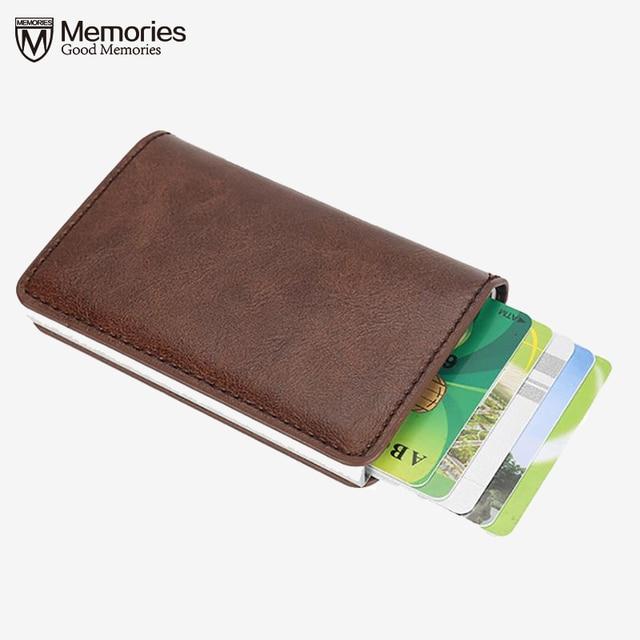 Hombres de Negocios Titular de la Tarjeta de Bloqueo Protector de Crédito Efectivo Monedero de La Cartera De Aluminio ID de Cuero Automático 13 Tarjetas Pop-Up Tarjeta de Caso