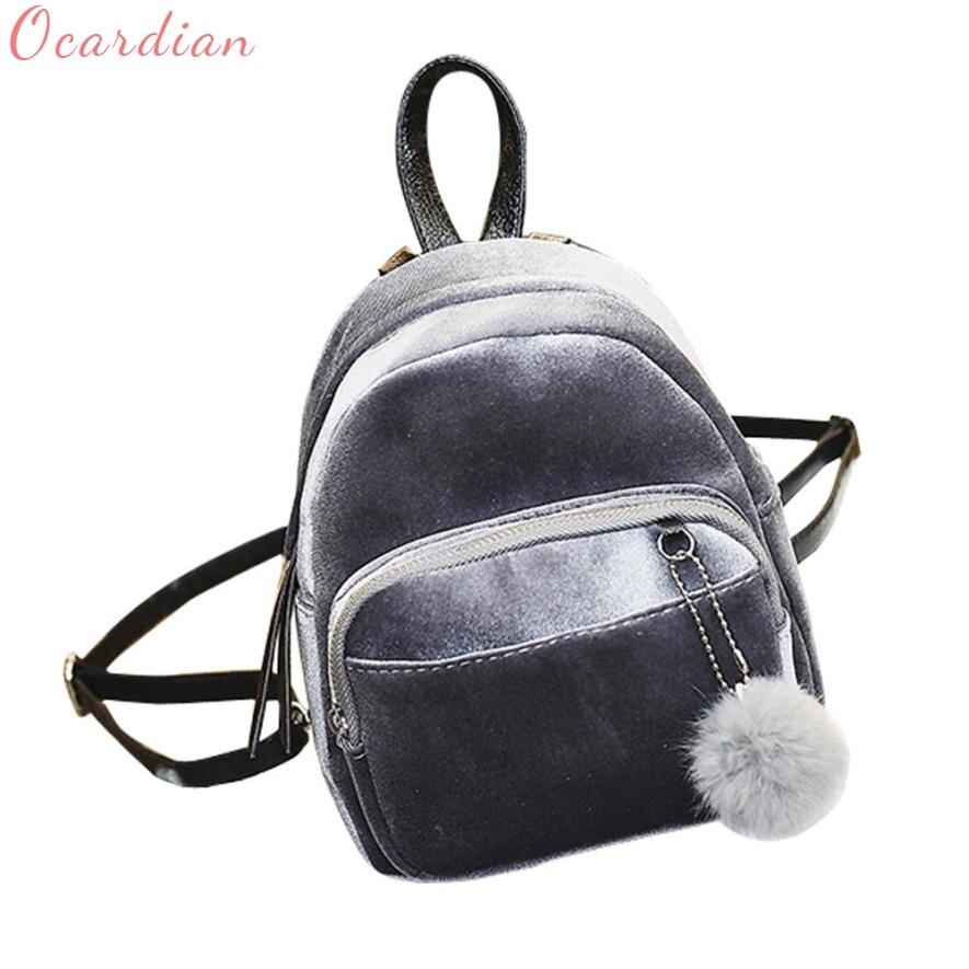 Ocardian Backpacks Chains Backpack Solid Bag Mochila Backpacks 2017 Travel Softback Velvet Mini Fur Ball Dec11 A Complete Range Of Specifications Girls