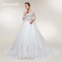 Fansmile Long Sleeve Crystal  Vestido De Noiva Lace Wedding Dress 2019 Train Custom-made Plus Size Bridal Wedding Gowns FSM-405T цена в Москве и Питере
