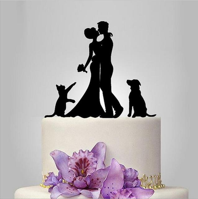 Wedding Cake topper with dog and cat, silhouette wedding cake ...
