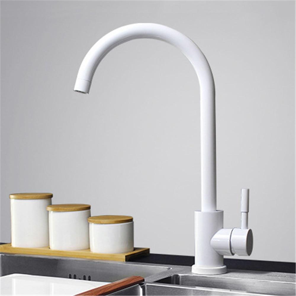 Couleur noir et blanc 304 robinet de cuisine en acier inoxydable mélangeur double évier rotation robinet d'eau de cuisine - 3