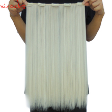 2 Piece X 5 Clip in Hair Extension 50cm Synthetic Clips Extensiones 50g Straight Hairpin Hairpiece Blonde Color 613