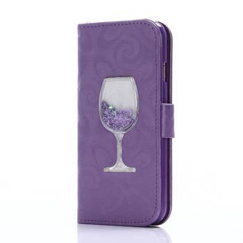 Cover For Coque Apple iphone 5 5S SE Case Wine cup dynamic liquid quicksand For Apple iphone 6S plus 7 plus Flip Case Capa iPhone