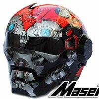 Top Casco Moto biker Đội Mũ Bảo Hiểm MASEI Iron Man đặc biệt thời trang Retro nửa mở mặt xe máy mũ bảo hiểm motocross mũ bảo hiểm Màu Đỏ Bumblebee