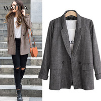 WAQIA Plus Size 5XL Women Plaid Blazer Autumn Winter 2018 Long Sleeve Double Breasted Coat Jacket Office Lady Casual Outerwear