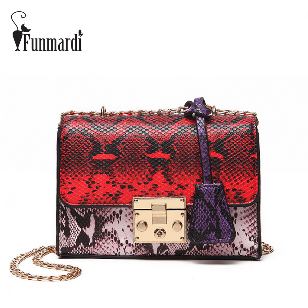 FUNMARDI Serpentine Mini Chain Flap Bags Luxury PU Leather Messenger bag Fashion Summer Leather Bag Ladies Shoulder Bag WLHB1652