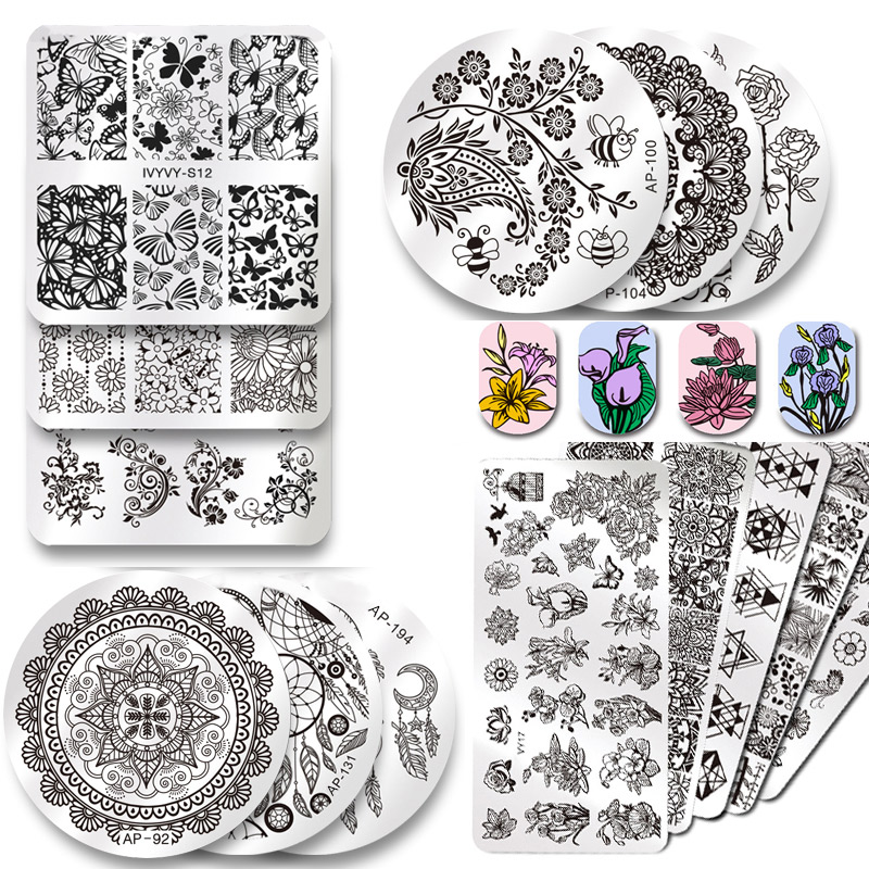 2019 New Series Nail Stamping Plates DIY Image Konad Nail Art Manicure Templates Stencils Salon Beauty Polish Tools-in Nail Art Templates from Beauty & Health