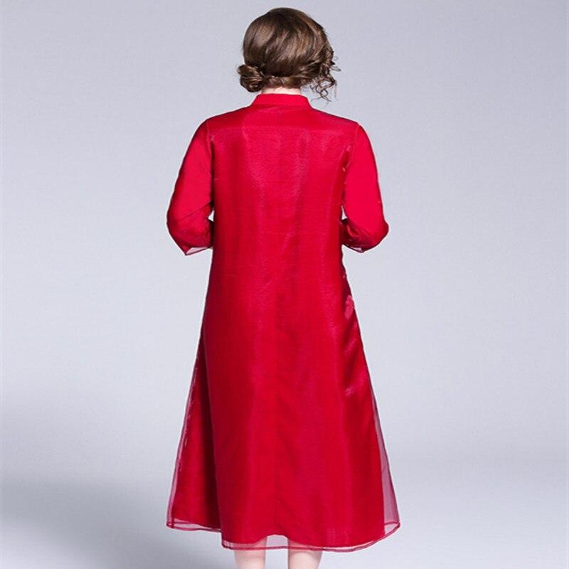 Blanco rojo Vintage Prom vestido femenino otoño 2018 mujeres exquisito bordado Becerro de La Manga del cuarto de tres más El vestido del tamaño 1950 s - 3