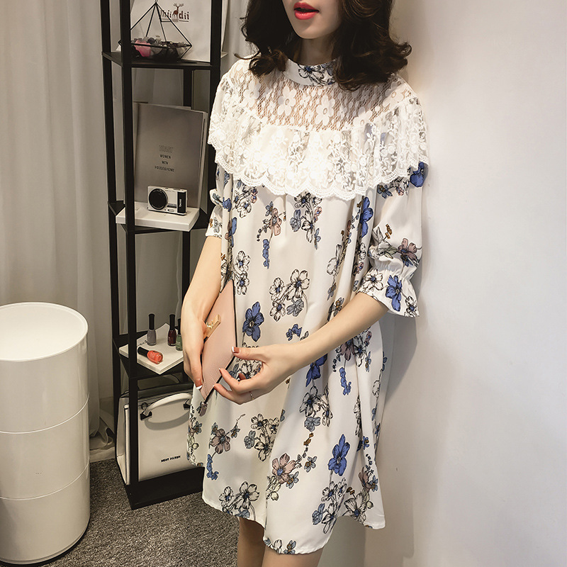 2017 summer new pregnant women five-point sleeves dress women pregnant with large size stitching lace print lotus leaf dress