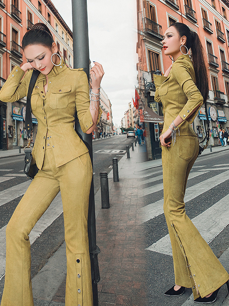 2019 Limited Spring New Women's Suit Mustard Yellow Fashion Temperament Suede Slimming Shirt And Micro Trousers Two-piece Women