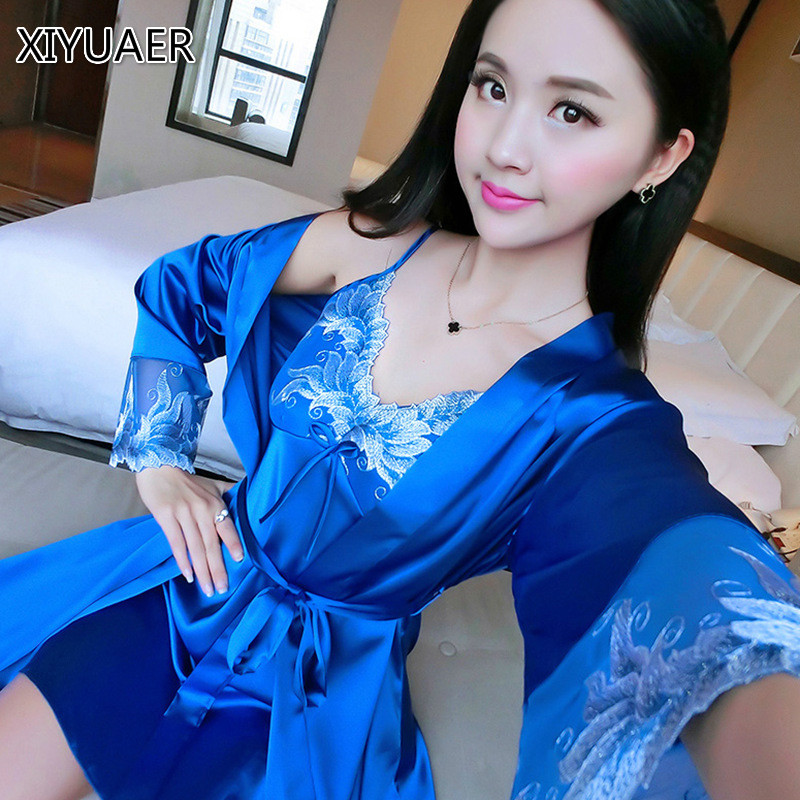 Hot Sale Two Pieces Sets Elegant Womens Silk Satin Nightgowns&Sleepshirts Solid Sleepwear Mujer Robe Lady Sexy Nightdress 80044