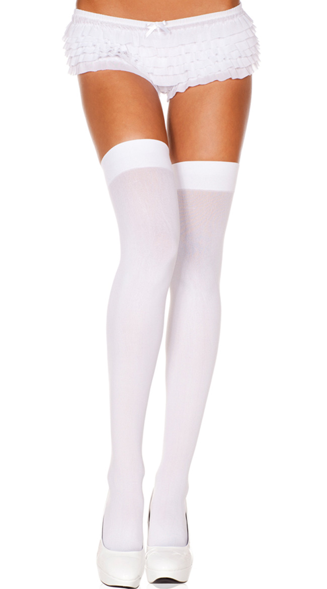 White Opaque Nylon Thigh Highs Stocking Costume Accessories