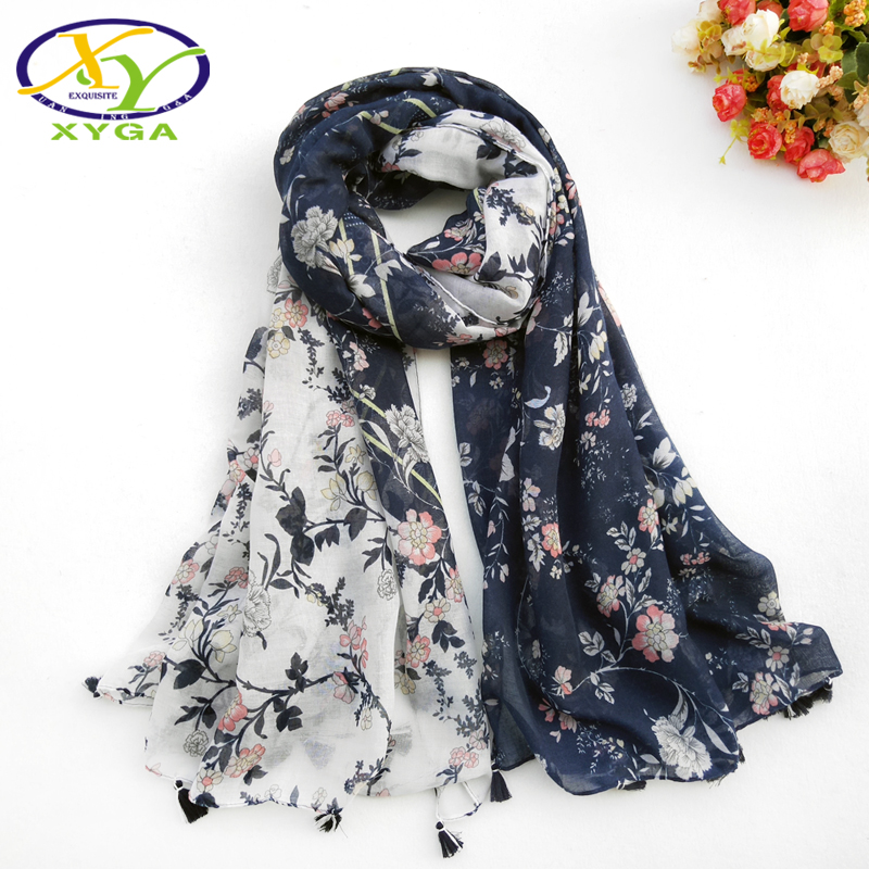 1PC Women Cotton Long Tassels Scarf Flower Printed Thin 2018 Srping Wraps Soft Summer Lady's New Viscose Pashminas Autumn Shawl