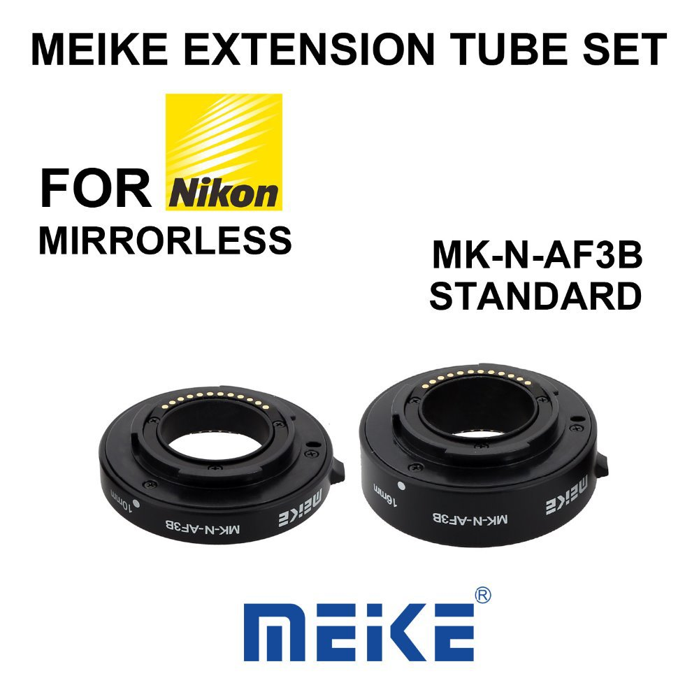 MEKE Meike N-AF3-B Auto Macro Focus AF Extension Tube Ring Set Adapter for Nikon 1 Mount Camera J1 J2 J3 V1 V2