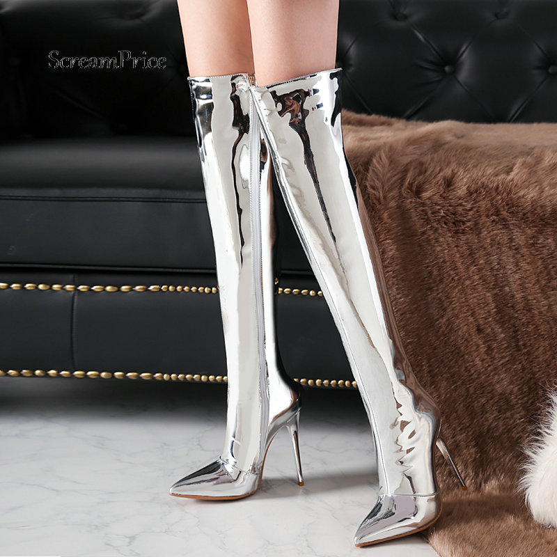 Women Gold Silver Shiny Leather Fashion Over the Knee Boots Sexy Thin High Heel Thigh Boots Zipper Boots Winter Ladies Shoes jialuowei women sexy fashion shoes lace up knee high thin high heel platform thigh high boots pointed stiletto zip leather boots