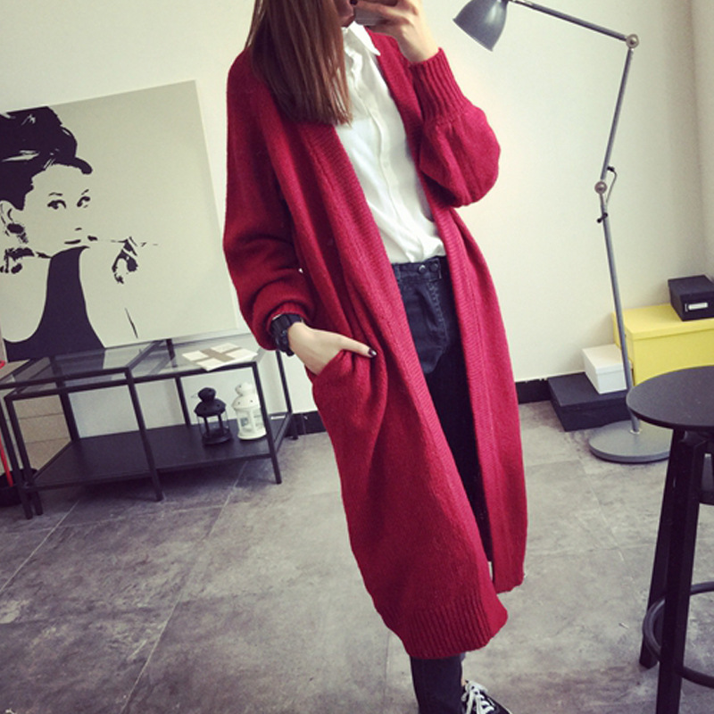 2018 Spring And winter Season New Pattern Suit-dress Overlength Knitting Cardigan Sweater Woman Loose Coat Black Red