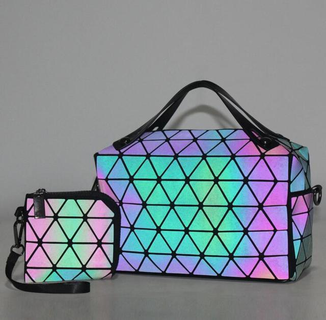 Luminous Geometric Design Women's Bag and Wallet Set