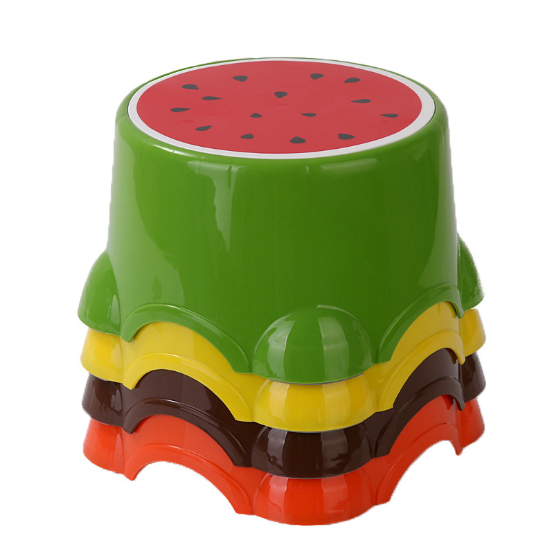 Fruit Trumpet Children's Stool Cute Plastic Stool Round Stool Baby Cartoon Stool Thickened Bench  Chair For Children