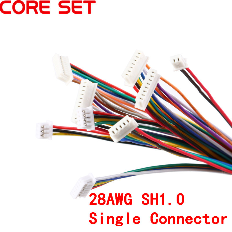 5Pcs SH 1.0 Wire Cable Connector DIY SH1.0 JST 2/3/4/5/6/7/8/9/10 Pin Electronic Line Single Connect Terminal Plug 28AWG 10cm