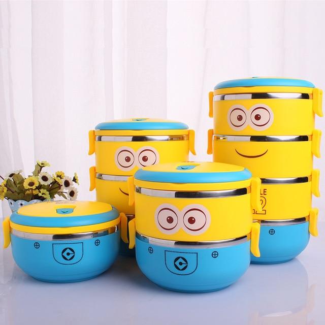 Minion bonito Dos Desenhos Animados de aço inoxidável Para As Crianças Com Plástico Tiffin Caixas Bento Térmica Para Os Alunos Da Escola Em Louça