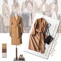 Europe Double sided Cashmere Coat Female 2017 Winter Coat Women Wool Coat New Lapel X long Female Overcoat