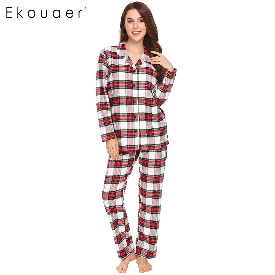782186dc14 Ekouaer Women Casual Pajamas 100% Cotton Nightwear Long Sleeve Plaid Long Cotton  Sleepwear Pajama Set Female Homewear Nighties-in Pajama Sets from Women s  ...
