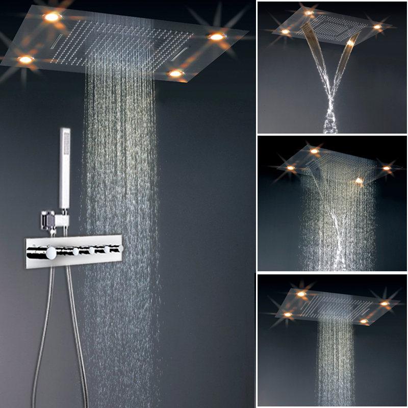 Online Shop JMKWS Big LED Shower Set Accessories 4 Function ...