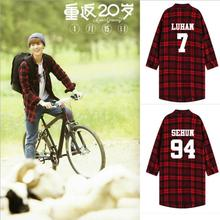 hot deal buy kpop exo harajuku long section of the spring autumn plaid dress shirt jacket k-pop exo collective red plaid long-sleeved shirt