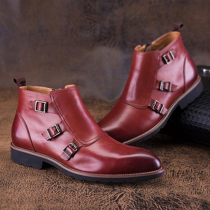 Zgzjywm D'affaires Mâle Qedding En Sangle Arrivale red Nouvelle Chaussures Bout Boucle Bottes Pour Véritable Hommes Pointu Cuir Cheville Wine Solide Robe Black yb7Y6mIfgv