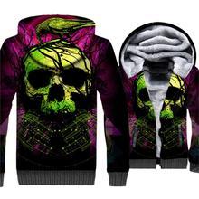 Streetwear Skull Printed Hip Hop Men 3D Hoodies New Style 2019 Winter Warm Punk Jackets Casual Thick Fleece Sweatshirts